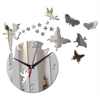 Jam Dinding Quartz Creative Design Model Fairy - Silver
