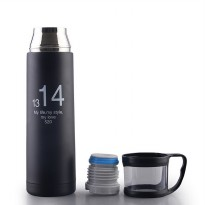 Botol Minum Thermos with Cup Head 500ml - Black