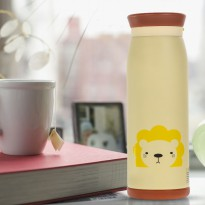 Colourful Cute Cartoon Thermos Insulated Mik Water Bottle 500ml - Cream