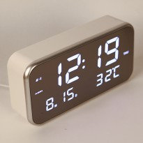 Jam Alarm Digital dengan Sensor Temperature + Calender + Mirror - 8801 - White