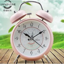 Jam Weker Alarm Model Classic Stainless Steel - Pink