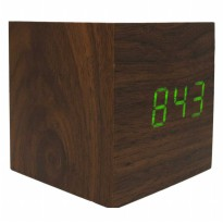 Jam Weker LED Digital Wood Clock - JK-859 - Brown