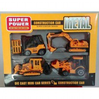 Die Cast Contruction Car Metal 4 Pcs F4