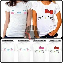 [KAOS] KAOS DEWASA SANRIO CINNAMOROLL AND HELLO KITTY FACE TYN 348