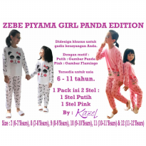Kazel Zebe Kids Teens Long Pajamas Piyama Panjang Girl Panda Edition 2in1 - Size 11 & 12