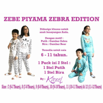 Kazel Zebe Kids Teens Long Pajamas Piyama Panjang Zebra Edition 2in1 - Size 11 & 12