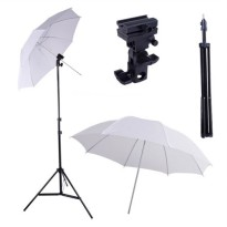 Paket Studio Light Stand 190cm + B Bracket + Payung Transparan 80cm
