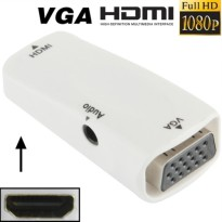 Full HD 1080P HDMI Female to VGA and Audio Adapter for HDTV / Monitor / Projector - White