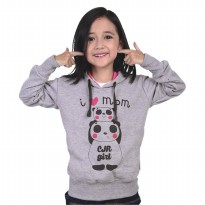 Catenzo Junior Hoodie Anak Perempuan -Abu Misty CPLx916 I Love Mom