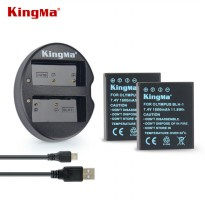 KingMa Charger Baterai Travel + 2 x Baterai for Olympus EM1 Mark II - BLH1 - Black