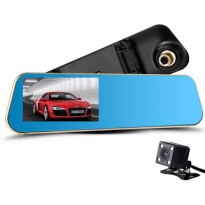 Kaca Spion DVR Dual Kamera 1080P 4.3 Inch Display - Black