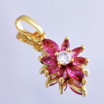 Kalung Red Ruby Star Flower Pendant Triple Gold Plated Necklace