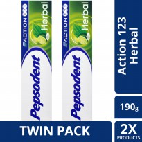 [TWIN PACK] Pepsodent Action 123 Pasta Gigi Herbal 190G