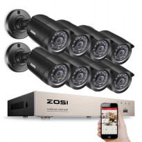 ZOSI Wireless DVR Kit HD 8Ch with 8 CCTV 720P - Black