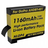 NITECORE Battery Replacement 1160mAh for GoPro Hero4 AHDBT-401 - NLGP4 - Yellow
