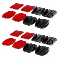 Curved and Flat Surface Mount 3M Adhesive 8PCS for GoPro And Xiaomi Yi - Black