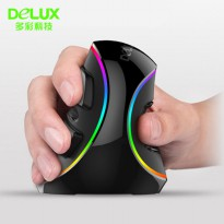 Delux M618 RGB Vertical Wired Optical Ergonomic Mouse 4000 DPI - Black