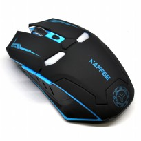 NAFEE Iron Man Wireless Mouse Gaming Mute Button Silent Click 2.4Ghz - Black