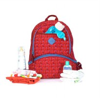 Okiedog Freckles Backpack Triangle Kangaroo Dot Tas Ganti Popok - Red