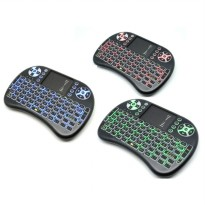 Air Mouse Wireless Keyboard RGB 2.4GHz Dengan Touch Pad - I8-3C - Black
