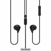 WK Colorful Fashionable Earphone with Microphone - WI200 - Black