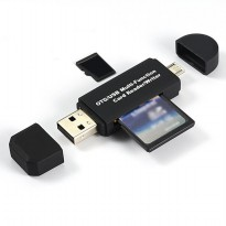 3 in 1 OTG Card Reader SD/TF Card Micro USB 2.0 - Black