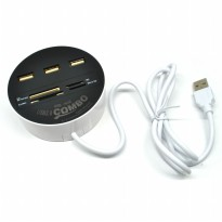 Combo Circle Multi Card Reader + 3 USB HUB 2.0 - Black