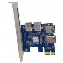 PCI-E Expansion Card Riser to 4 USB 3.0 for Bitcoin Miner EM88