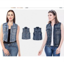 New! Branded Express Ladies Denim Vest Jacket_Premium Quality_Denim Jeans_Denim Jacket Wanita