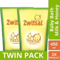 [TWIN PACK] Zwitsal Baby Bath Natural Dengan Milk & Honey Refill - Pouch - 450ML
