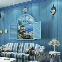 WPS501 BLUE WOOD LIST WALLPAPER STICKER WALPAPER DINDING