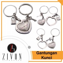 Gantungan Kunci Heart Couples Metal Love Couple KeyChain XXH6