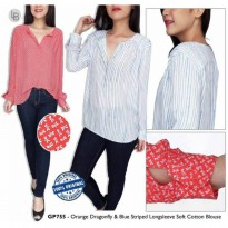 [BLOUSE] BLOUSE BRANDED MURAH GAP ORANGE DRAGONFLY N BLUE BIG SIZE BLOUSE JUMBO