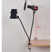 Stand Microphone Table With Smartphone Holder - Stand Mic Meja