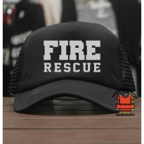 [JersiClothing] Topi Trucker Fire Rescue - Hitam