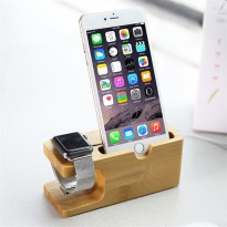 Bamboo Smartphone Stand Holder And Apple Watch Dock