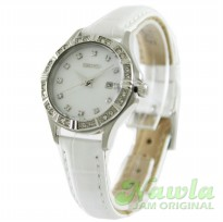 Seiko Ladies SXDF11P2 Quartz White Leather Strap | Jam Wanita SXDF11