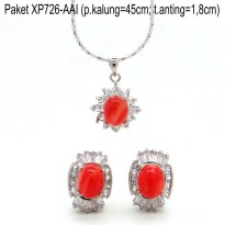 Xuping Set Perhiasan Anting dan Kalung+Liontin Lapis Emas XP726-AAI