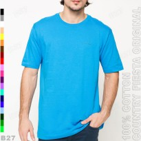 COUNTRY FIESTA Original P1-36 T-Shirt Kaos Cotton Polos Biru Muda