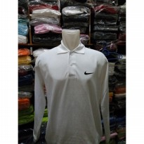 kaos kerah polo shirt nike putih long