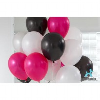 Balon Latex Metalik Mix 30 pcs (hitam, putih, magenta, silver)