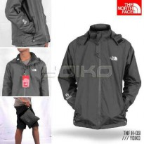 Jaket gunung outdoor pria TNF The North Face H09 full Polar BB abu