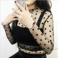 [TANK TOP] POLKA SHEER TOP / BAJU JARING TRANSPARAN IMPORT 90.000