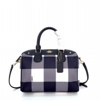 Coach Bennet Buff Plaid Small Satchel