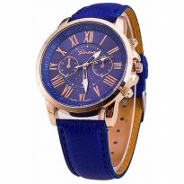 JAM TANGAN GENEVA CHRONO VARIASI LEATHER NAVY #GN004#