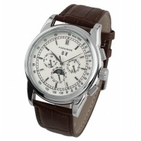 ESS Luxury Men Leather Strap Automatic Mechanical Watch - WM398 - Brown/Silver