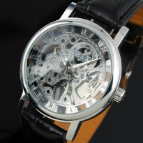 ESS Luxury Men Leather Skeleton Hand-Wind Up Automatic Mechanical Watch - WM119-ESS - Black/Silver