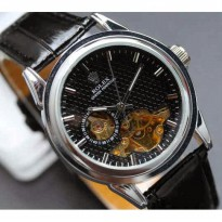 Rolex skeleton Carera Leather Black plat Black