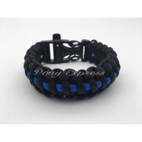 Gelang Paracord Bracelet Blue Black Whistle Buckle Camping Survival