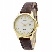 Seiko Ladies SUR742P1 Gold Plated Case Leather | Jam Wanita SUR742